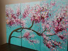 Painting tree flower flower painting by oakartgallery Diy Painting, Watercolor Art, Flower Painting, Art Painting, Tree Art, Abstract Painting, Tree Painting, Painting, Painting Art Projects