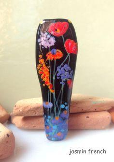 jasmin french ' night swallow ' lampwork focal bead glass art