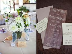 Love the flowers and invitations for a farm wedding.