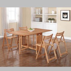 Wood Natural 5 Pc Space Saver Dining Set  Natural (Table W/ 4 Chairs)