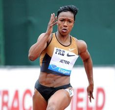USA Track & Field - Carmelita Jeter win the 100 meters today at the US Olympic Trails in Eugene, Oregon. She will lead the US Women 100 meters track & field team and likely be on the women's  4x100 relay team at the 2012 London Olympics.  #TeamUSA