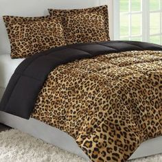 Deciding to make your room cheetah themed? Theres a bed spread, a hamper, a trash can, and a tissue holder, ALL IN CHEETAH! Cheetah Print Bedroom, Leopard Print Bedding, Animal Print Bedding, Animal Print Decor, Animal Prints, Leopard Prints, Animal Print Furniture, Zebra Bedding, Leopard Decor