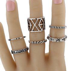 Engraved Love Geometric Jewelry Ring Set #women, #men, #hats, #watches, #belts