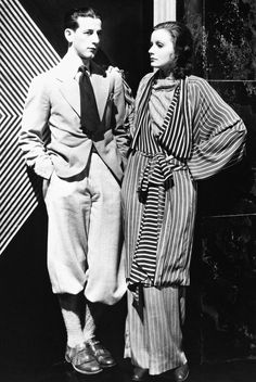 """camillejaval: """"""""Greta Garbo and MGM's costume designer Adrian on the set of The Single Standard, 1929."""" """""""