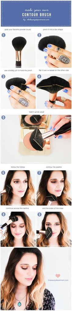 Make your own contour brush with bobby pins!