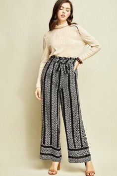 73c5b7f4771e Striped tribal print wide-leg paperbag pants featuring self-tie closure  detail at waist. Lillies Boutique
