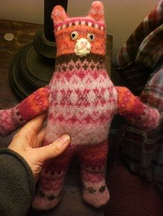 A pink kitty I am working on. Upcycled felted sweater.