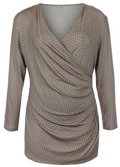 3179bab05852 Elvi Plus Size Ladies Mid Blue Retro Graphic Wrap Style Tunic Sizes - 16-26