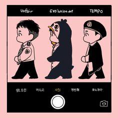 Kyungsoo, Chanyeol, Exo Kokobop, Exo Do, Kaisoo, Exo Cartoon, Exo Stickers, Exo Anime, Doodle Characters