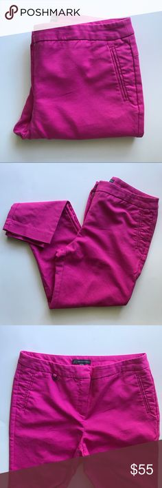 Adrianna Papell Slacks Bright pink skinny slacks. Zipper and clasp front closure. Front slit pockets.   -Fabric: 97% Cotton 3% Elastane -Measurements: 15in waist, 26.5in inseam, 35.5 outseam -Good preowned condition Adrianna Papell Pants Ankle & Cropped
