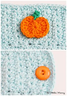 Crochet Star Stitch Pumpkin Coffee Cozy - I like the added detail of the button on the cozy