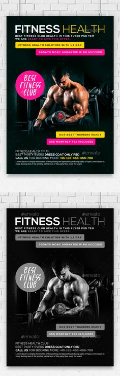 Fitness Training Center Flyer Templa by Business Templates on - Gym Brochure Templates