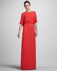 Half-Sleeve Gown with Draped Back by Halston Heritage at Neiman Marcus.