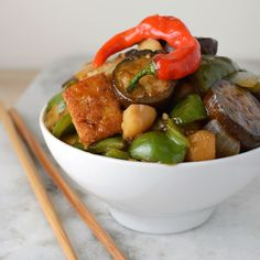 Made with Japanese eggplant, this vegan stir fry is a hearty Asian meal that's popping with flavor!