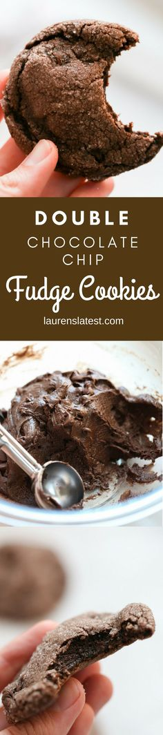 Double Chocolate Chip Fudge Cookies are everything that is right in the world. Soft, sweet, so simple to make and only 6 ingredients needed! | https://lomejordelaweb.es/