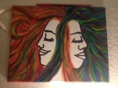 aaseagypsy art; soul sisters; original design acrylic on small canvas;
