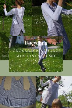 Upcycling: Crossback-Schürze aus einem Hemd – Helden der Vorzeit Picnic Blanket, Outdoor Blanket, Easy Sewing Projects, Refashion, Free Pattern, Upcycle, Recycling, Aprons, Tutorials