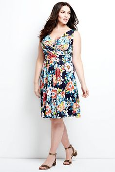 Floral Print Fit and Flare Dress | Lands End