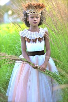 Woodland Wedding Flower Girl Tutu Dress with Feather Collar
