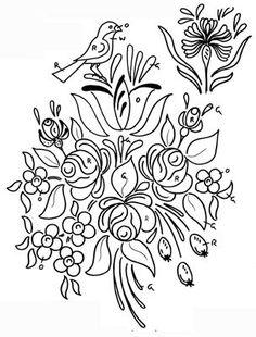 Dessins polychrome - maison de poupée - vitrines miniatures Folk Embroidery, Embroidery Patterns, Stitch Patterns, Folk Art Flowers, Flower Art, Tole Painting, Fabric Painting, Rosemaling Pattern, Vitrine Miniature