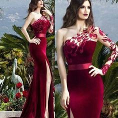 red prom dresses 2019 one shoulder long sleeve lace mermaid side slit velvet evening dresses gowns Hijab Evening Dress, Lace Evening Dresses, Elegant Dresses, Evening Gowns, Formal Dresses, Tailored Dresses, Homecoming Dresses, Bridesmaid Dresses, Beautiful Gowns