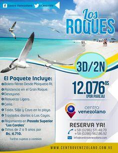 """Centro Venezolano te ofrece la increíble oportunidad de viajar a Los Roques , por 3D/2N, para 2 personas en la Posada Superior """"Los Corales"""".  Incluye: Boleto aéreo + hospedaje + desayuno + almuerzo ligero + cena + toldo, silla y cava en la playa + traslados diarios a cayos.   Aprovecha esta excelente promoción... ¡Reserva Ya!  **Promoción válida para temporada baja"""