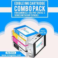 #EdibleInkCartridge COMBO PACK for Canon. Icinginks™ #EdibleCartridges are dairy, gluten, nut free and FDA Compliant which are made in the #USA using high quality #food #edible materials under very strict food manufacturing conditions.