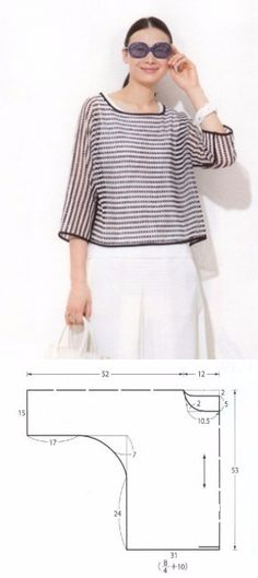 El patrón-modelo de la blusa del corte libre a todas las dimensiones // Елена Таркис Skirt Patterns Sewing, Clothing Patterns, Ropa Free People, Gents Sweater, Crochet Hood, Sewing Blouses, Make Your Own Clothes, Fashion Project, Couture Tops