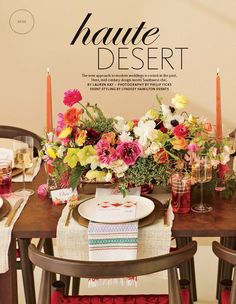 "Menu and place cards we designed for the ""Haute Desert"" photo shoot featured in the 2014 Fall issue of The Knot"