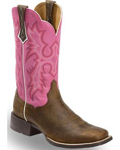 Ariat Women's Tombstone Passion Pink Western Boots - Square Toe Ariat Women's Tombstone Passion Pink Western Boots - Square Toe, Brown/pink, hi-res<br> Cute Cowgirl Boots, Kids Western Boots, Cowboy Boots Women, Cowboy Western, Cowboy Hats, Justin Boots, Bootie Boots, Shoe Boots, Fashionable Snow Boots