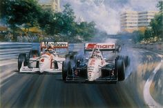 Formula One's Nigel Mansell outbraking Emerson Fittipaldi on his way to victory in his Indycar Debut at Surfer's Paradise, Australia, on 21st March 1993 driving the Newman/Haas K.Mart Texaco Lola-Ford T93