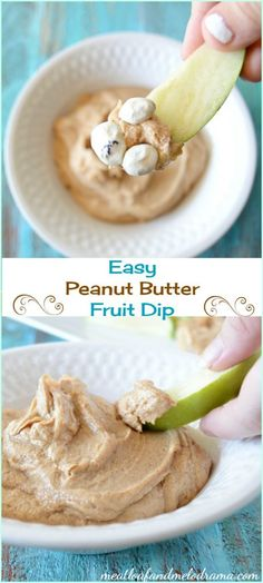 This easy peanut butter yogurt fruit dip recipe is perfect for  snacks or parties and uses just 4 ingredients!