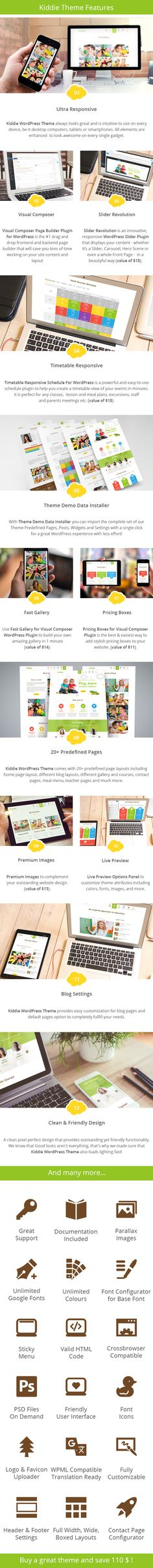 Kiddie - Kindergarten WordPress Theme  + Download