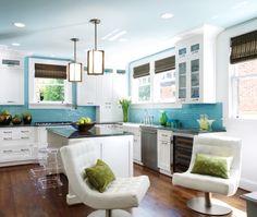 Modern Island Style Blue kitchen, white cabinets,