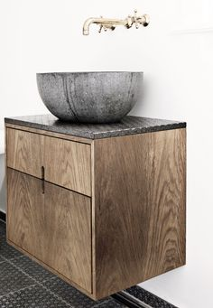 Rustic wood vanity - Stone sink - Brass wall mounted faucet hardware