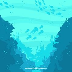 Underwater background with different marine species , Beach Illustration, Landscape Illustration, Landscape Art, Coral Reef Drawing, Aquarium Drawing, Underwater Background, Aquarium Backgrounds, Undersea World, Water Drawing