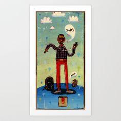 Loki (matchbox painting - extreme close-up) Art Print by Mr. Liddle - $15.60