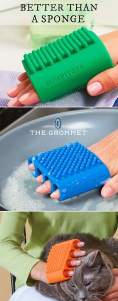 These silicone scrubbers clean, de-lint, and even exfoliate. They're a non-toxic, anti-bacterial, & reusable way to clean anything from dishes to fruits to you.