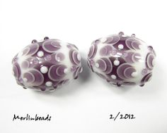 Pair small ovals simply berry on white b - SOLD