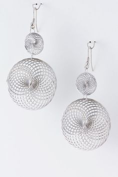 Silver Helix Chandelier Earrings on Emma Stine Limited