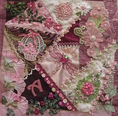 I ❤ crazy quilting, beading & ribbon embroidery . . . Beautiful crazy quilted block ~From Arlene's Blog