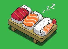 Sushi (Mini) None by Benji& Artist Shop Arte Do Sushi, Sushi Art, Funny Illustration, Food Illustrations, Kawaii Drawings, Cute Drawings, Japanese Drawing, Cute Puns, Funny Doodles