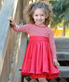 Sweet Charlotte Red & White Stripe Bow Dress - Toddler & Girls #zulily *so cute