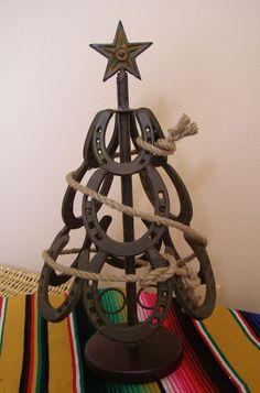 Western Cowboy Horseshoe Horse Texas Tabletop Christmas Tree, Rope Lasso Garland