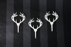 6 Deer Antler Cupcake Toppers Acrylic by ThickandThinDesigns