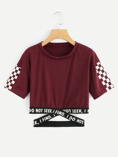 Shop Gingham Panel Cross Detail Tee at ROMWE, discover more fashion styles online. Cute Teen Outfits, Cute Outfits For School, Teenager Outfits, Outfits For Teens, Cool Outfits, Casual Outfits, Girls Fashion Clothes, Teen Fashion Outfits, Trendy Hoodies