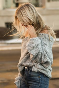 grey knit | The Boyish Girl Blog