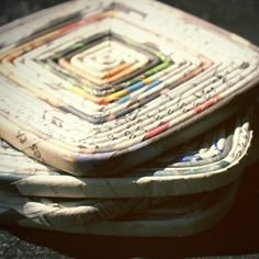 recycled paper/newspaper crafts. Tried this and put drops of food coloring on when I was done, so easy to do!