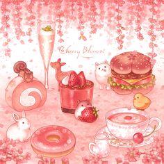Cute Food Drawings, Cute Animal Drawings Kawaii, Kawaii Art, Dessert Illustration, Cute Illustration, Candy Drawing, Cute Food Art, Food Cartoon, Cute Art Styles
