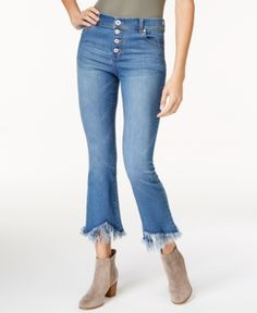 Inc International Concepts Petite Cropped Fringe-Cuff Flare Jeans, Created for Macy's - Blue 12P